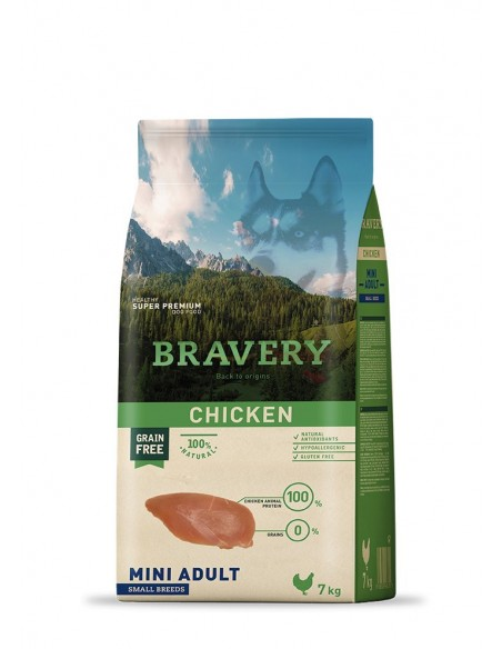 Bravery Adult Mini-Small Chicken (Grain Free) Alimento Seco Cão