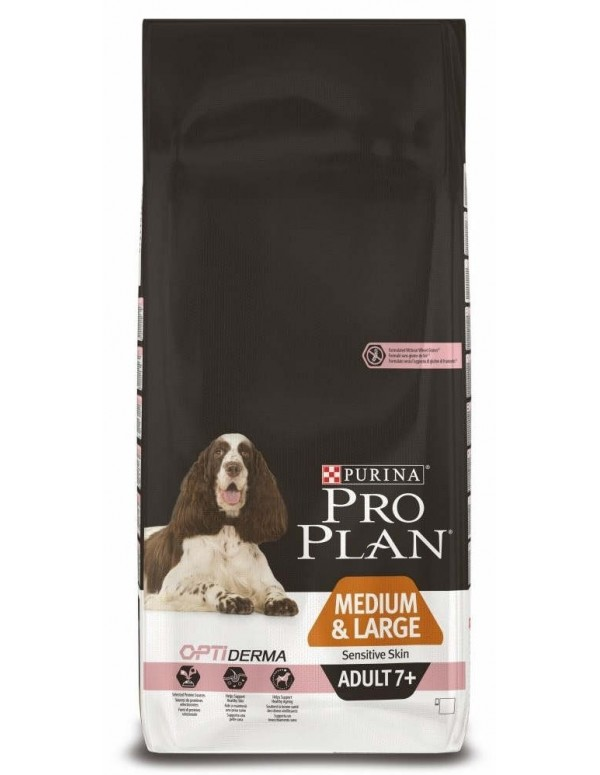 Pro Plan Adulto 7+ Medio e Large Sensitive Skin Alimento Seco Cão